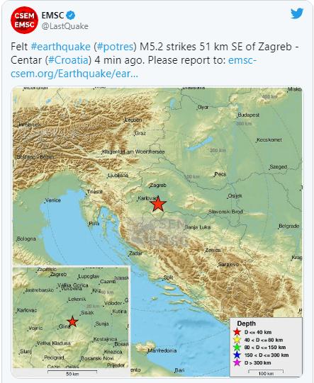 Strong earthquake at 6.27 hours, magnitude 5.2, epicenter near Petrinj