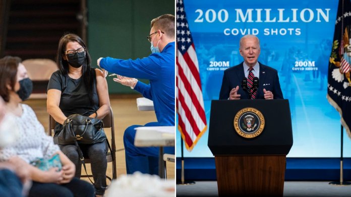 US hits 200million vaccinations as Joe Biden offers workers paid time off for shot