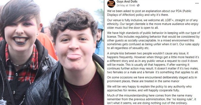 Bar denies homophobia after banning PDA 'that might upset straight customers'
