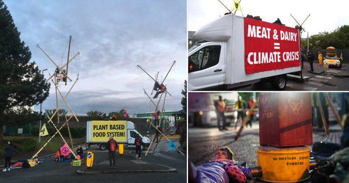 McDonald's depots blockaded by activists demanding chain goes vegan