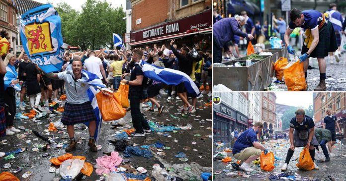Euro 2020: Scotland fans tidy up as Leicester Square lined with rubbish