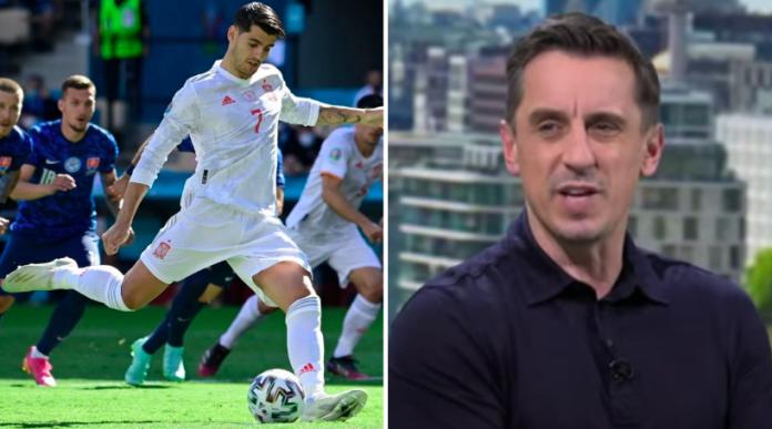 Gary Neville mocks Alvaro Morata after penalty miss for Spain v Slovakia at Euro 2020