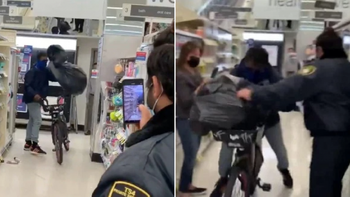 Moment thief steals garbage bag full of Walgreens items and bikes past security