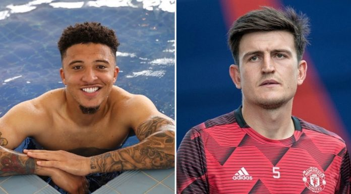 Manchester United captain Harry Maguire reacts to Jadon Sancho transfer
