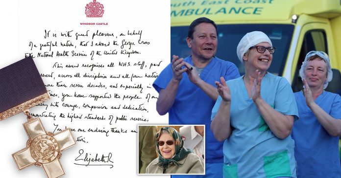 Queen's handwritten note to NHS staff awarding Covid heroes the George Cross